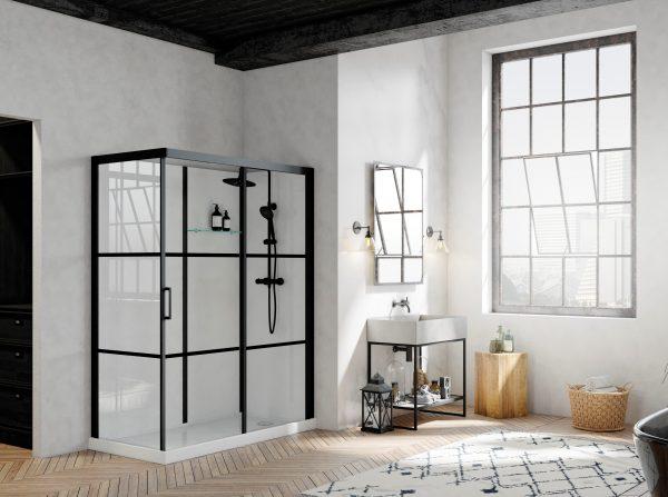 Badkamer met zwarte elementen