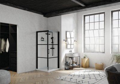 Zwarte elementen in badkamer