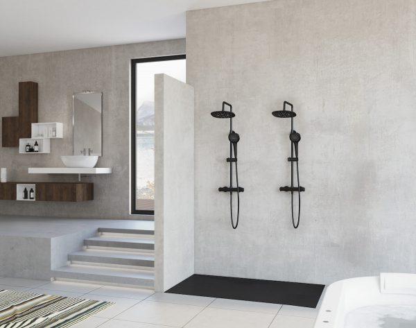 Sfeerbeeld van een badkamer met dubbele douche